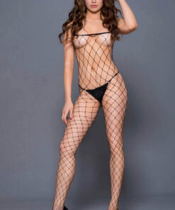 Monicas Black Fence Net Bodystocking
