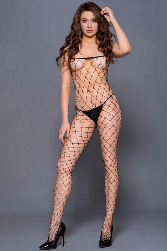 Monicas Black Fence Net Bodystocking