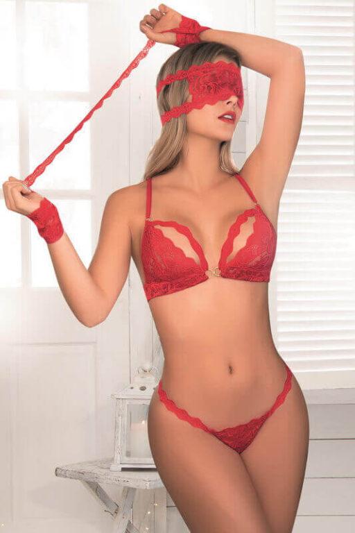 Red Lace Bra Panty Eye Mask Cuffs Set